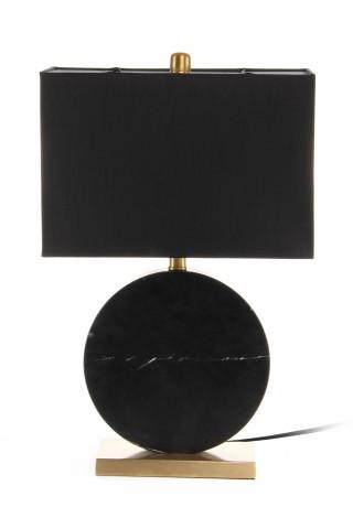Lampa decorativa din PVC/fier/marmura Bilbo neagra/aurie, un bec