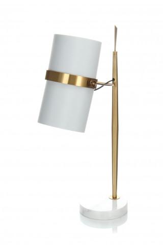 Lampa decorativa din tesatura/metal/marmura Novum alba/aurie, un bec