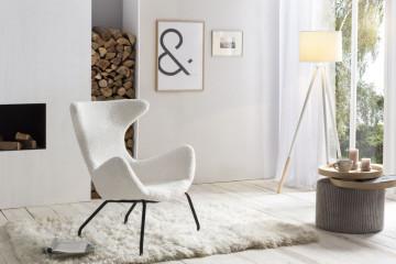 Lampadar din lemn/material alb, un bec