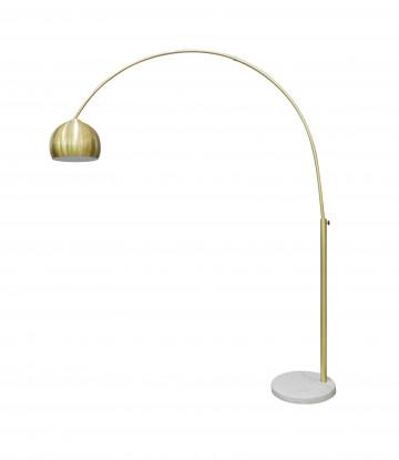 Lampadar din metal/marmura/plastic 205 cm alama/alb, 1 bec
