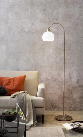 Lampadar din metal/sticla 153 cm argintiu, 1 bec