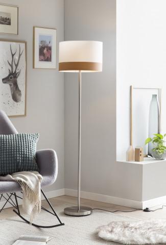 Lampadar din metal/tesatura 151 cm alb/crom, 1 bec
