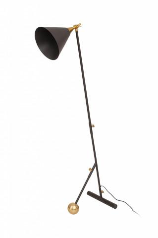 Lampadar din otel/alama/fier Celeste, negru/auriu, un bec 59x32x144 cm