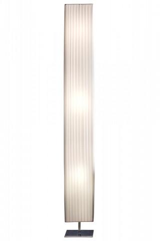 Lampadar patrat din latex/metal cromat 160 cm alb, 3 becuri