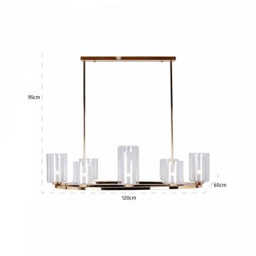 Lustra din fier/sticla Baele alba cu 8 candle holders