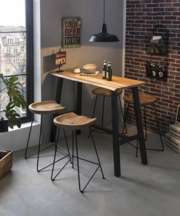 Masa de bar dreptunghiulara din lemn de salcam Tables&Benches 124,5x51x112 cm negru/maro