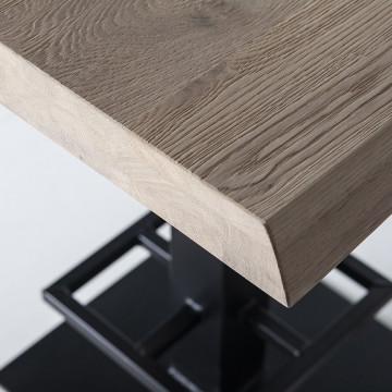 Masa de bar patrata din lemn de stejar 80x80x94 cm maro
