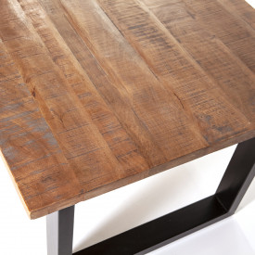 Masa dreptunghiulara cu blat din lemn de salcam 240x100x76 cm maro/negru