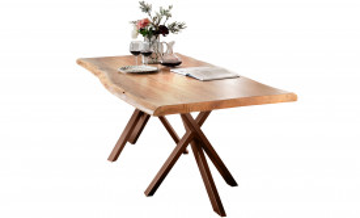 Masa dreptunghiulara cu blat din lemn de salcam Tables & Benches 220 x 100 x 78 cm maro