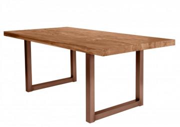 Masa dreptunghiulara cu blat din lemn de stejar Tables & Benches 200 x 100 x 76 cm maro/maro inchis