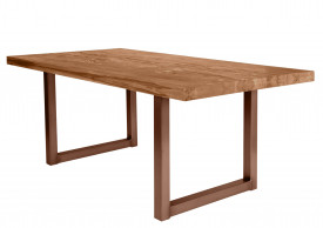 Masa dreptunghiulara cu blat din lemn de stejar Tables & Benches 220 x 100 x 76 cm maro/maro inchis