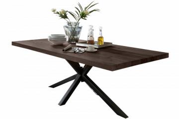 Masa dreptunghiulara cu blat din lemn de stejar Tables & Benches 220 x 100 x 76,5 cm gri carbon/neagra