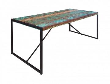 Masa dreptunghiulara cu blat din lemn de tec reciclat Bali 165x80x76 cm multicolora
