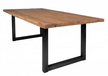 Masa dreptunghiulara cu blat din lemn de tec reciclat Tables & Benches 200 x 100 x 76 cm maro/negru