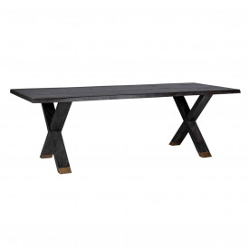 Masa dreptunghiulara din lemn de stejar Hunter 76x200x100 cm neagra