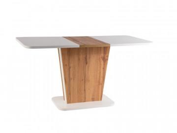 Masa dreptunghiulara extensibila din lemn Calipso 110 x 68 x 76 cm alb / maro