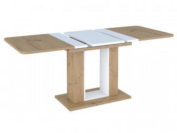 Masa dreptunghiulara extensibila din lemn Twins 140 x 80 cm maro / alb
