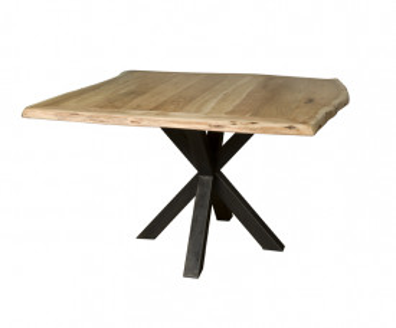 Masa patrata cu blat din lemn 130x130x78 cm maro deschis/ negru