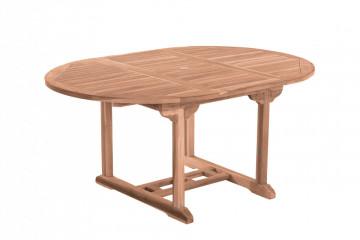 Masa pentru gradina rotunda din lemn de tec extensibila 120x120x75 cm maro
