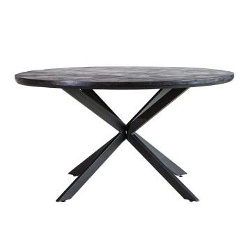 Masa rotunda cu blat din lemn de mango Steven 140x140x76 cm neagra