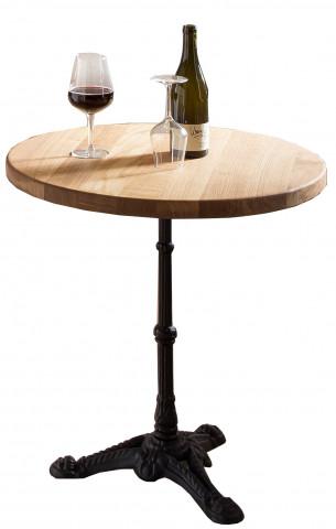 Masa rotunda cu blat din lemn si cadru metalic 60x74 cm