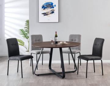 Masa rotunda din MDF 120 cm maro/negru
