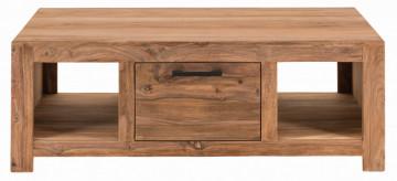 Masuta de cafea dreptunghiulara din lemn cu spatiu de depozitare Sanam 118x65x42 cm maro