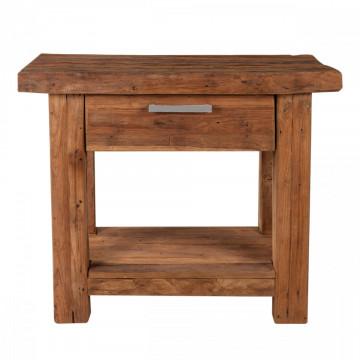 Masuta de cafea dreptunghiulara din lemn de tec cu spatiu de depozitare Coral 90x45x78 cm maro