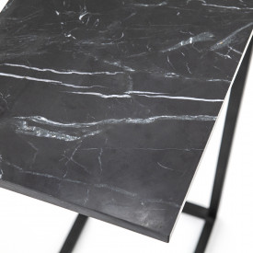 Masuta de cafea dreptunghiulara din marmura si metal Edge 40x27x65 cm neagra