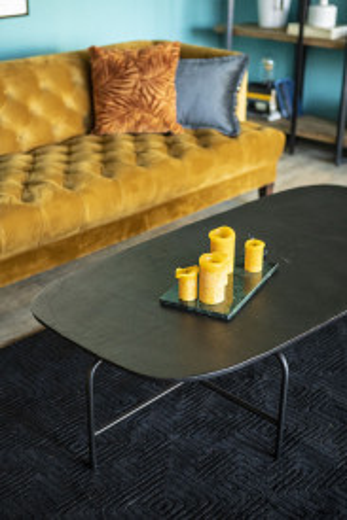Masuta de cafea ovala din lemn si metal Charles 147x70x38 cm aurie