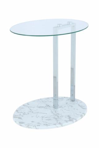 Masuta de cafea ovala din sticla cu spatiu de depozitare Julius 45,7x35,5x49 cm transparenta/alb/argintiu