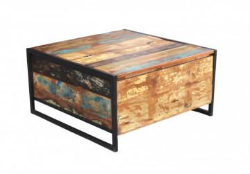 Masuta de cafea patrata din lemn cu spatiu de depozitare Bali 90x90x47 cm multicolora
