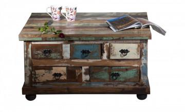 Masuta de cafea patrata din lemn cu spatiu de depozitare Riverboat 90x90x47 cm multicolora
