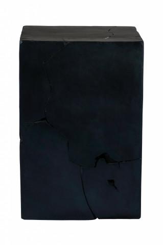 Masuta de cafea patrata din lemn de tec Radix 30x30x45 cm neagra