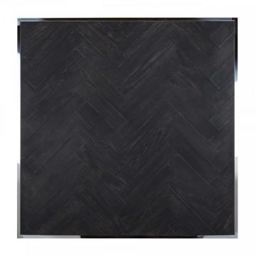 Masuta de cafea patrata din otel si stejar Blackbone 90x90x40 cm negru/argintiu
