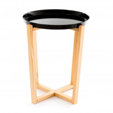 Masuta de cafea rotunda din lemn de pin si metal 60 cm