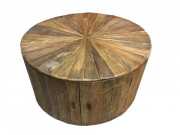 Masuta de cafea rotunda din lemn de tec cu spatiu de depozitare Romanteaka 80x80x41 cm maro