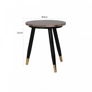 Masuta de cafea rotunda din marmura si metal Dalton 45x40x40 cm maro