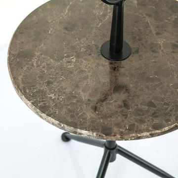 Masuta de cafea rotunda din marmura si metal Dober 42x42x74 cm negru/maro