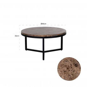 Masuta de cafea rotunda din marmura si metal Orion 30x60x60 cm maro