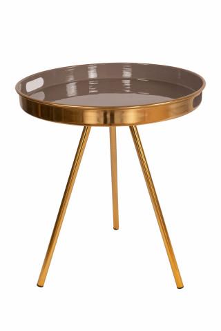 Masuta de cafea rotunda din metal Morrison 47x47x55 cm gri/auriu