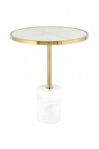 Masuta de cafea rotunda din metal si sticla Lana 46x46x53 cm alb/auriu