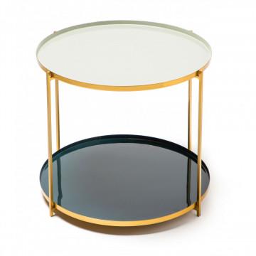Masuta de cafea rotunda din sticla cu spatiu de depozitareTessa 50x50x40 cm gri/alb