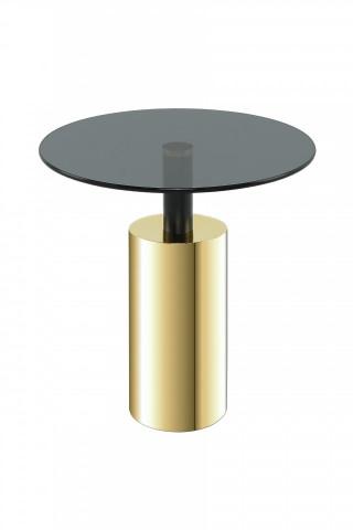 Masuta de cafea rotunda din sticla Rosanna 46x46x50 gri/auriu