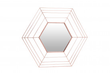 Oglinda hexagonala cu rama din metal cupru Romeo, 1.5cm (L / D) x 69cm (W) x 79.5cm (H)