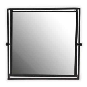 Oglinda patrata cu rama din metal neagra, 52 x 13 x 50 cm
