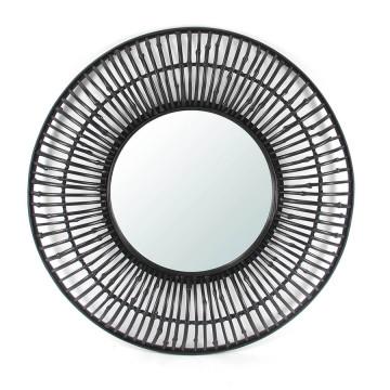 Oglinda rotunda cu rama din bambus neagra Wisdom, 81 x 81 x 7,5 cm