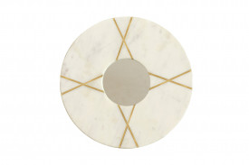 Oglindă rotunda cu rama din marmura alba Dexter 30x30x2 cm