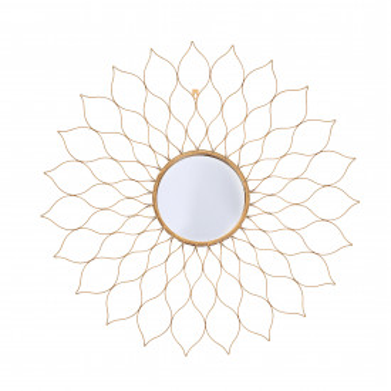 Oglinda rotunda cu rama din metal aurie Metal Nero, 2,5cm (L / D) x 80cm (l) x 80cm (H)