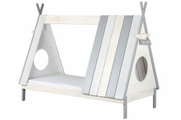 Pat pentru copii in forma de cort din MDF alb/gri, 105x215x167 cm